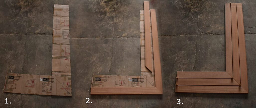 The sapele bench from the template to the machined hardwood product